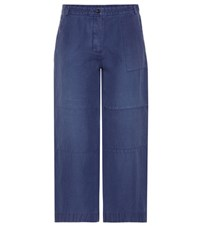 Burberry Cropped Wide Leg Trousers Blue