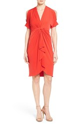 Catherine Malandrino Women's 'Emily' Cold Shoulder Twist Front Dress Fire Poppy
