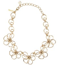 Oscar De La Renta Metal Flower Necklace Gold