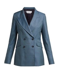 Gabriela Hearst Sophie Checked Double Breasted Wool Blend Blazer Blue Multi