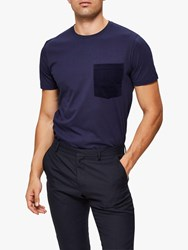 Selected Homme Vance O Neck T Shirt Maritime Blue