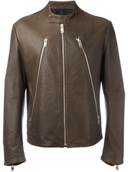 Maison Martin Margiela Leather Sports Jacket Brown