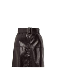 Msgm Belted Faux Leather Mini Skirt Black