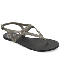 Fergalicious Carlie Rhinestone Embellished Flat Thong Sandals Women's Shoes Pewter