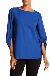 Lafayette 148 New York Elisio Boatneck Wool Blend Blouse Glaze Blue