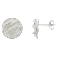 Nina B Silver Sterling Wrinkled Stud Earrings Silver