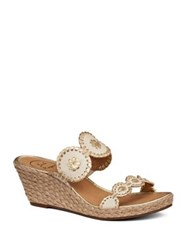 Jack Rogers Shelby Leather Wedge Sandals Bone Gold