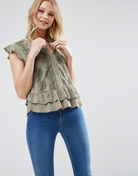 Asos Blouse With Ruffle Hem And Lace Khaki Green