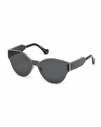 Balenciaga Monochromatic Shield Cat Eye Sunglasses Gray Metallic