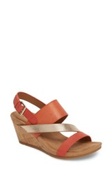 Comfortiva Vail Wedge Sandal Coral Leather