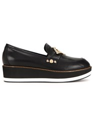 Love Moschino 'Love' Plaque Platform Loafers Black