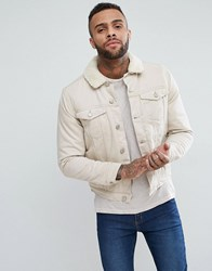 New Look Borg Lined Denim Jacket In Off White Off White