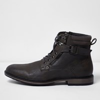River Island Mens Grey Buckle Lace Up Boots