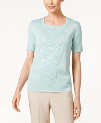 Alfred Dunner Ladies Who Lunch Embroidered Sweater Aqua