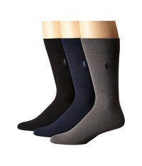 Polo Ralph Lauren 3 Pack Supersoft Flat Knit With Player Embroidery Assorted Navy Charcoal Black Men's Crew Cut Socks Shoes Multi