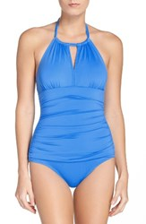 Tommy Bahama Women's 'Pearl' High Halter Neck One Piece Swimsuit Plunge Blue