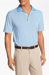 Men's Big And Tall Cutter And Buck 'Trevor' Stripe Drytec Polo Atlas White