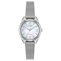 Citizen Em0680 53D 'S Ltr Eco Drive Mesh Bracelet Strap Watch Silver Mother Of Pearl