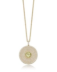Kiki Mcdonough Fantasy Diamond And Lemon Quartz Disc Necklace Yellow