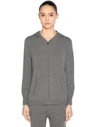 Agnona Hooded Zip Up Cashmere Sweater Grey