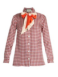 Gucci Geometric Print Silk Shirt Red Print