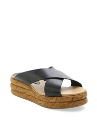 Andre Assous Brook Leather Platform Wedge Slide Sandals Navy Blue