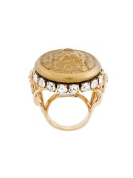 Dolce And Gabbana Lion Signet Ring Crystal Brass Yellow Orange