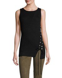 Ramy Brook Zoe Sleeveless Sweater W Lace Up Side Black