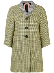 N 21 No21 3 4 Sleeves Houndstooth Coat Yellow