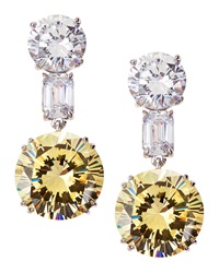 Fantasia Mixed Cut Two Tone Cz Drop Earrings
