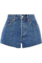 Re Done By Levi's Frayed Denim Shorts Mid Denim