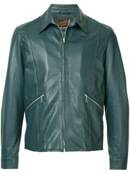 Hysteric Glamour Collared Leather Jacket Blue