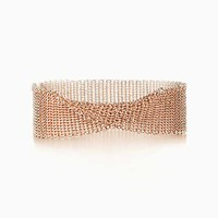 Tiffany And Co. Elsa Peretti Mesh Narrow Bracelet In 18K Rose Gold Medium.