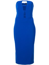 Christian Siriano Cut Detail Strapless Fitted Dress Blue
