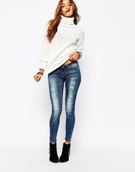 Noisy May Eve Low Waist Destroyed Skinny Jeans Blue