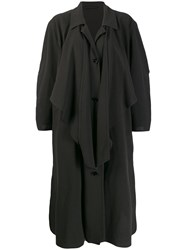 Christophe Lemaire Knotted Trench Coat Black