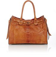 Zagliani Women's Python Gatsby Small Tote Brown
