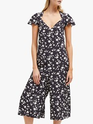 French Connection Charleena Floral Jumpsuit Utility Blue Multi