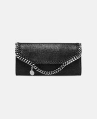 Stella Mccartney Black Black Falabella Shaggy Deer Continental Wallet