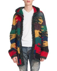 Saint Laurent Baja Hooded Graphic Cardigan Multi