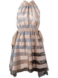 Fendi Striped Dress Women Silk Cotton Polyester Viscose 44 Pink Purple