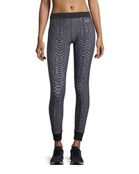 Monreal London Athlete Silver Reptile Ankle Length Compression Leggings Gray Pattern