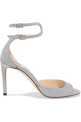 Jimmy Choo Lane 85 Glittered Leather Sandals Silver Gbp
