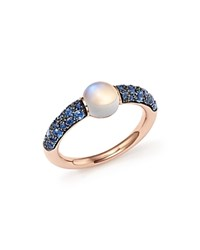 Pomellato M'ama Non M'ama Ring With Adularia And Blue Sapphire In 18K Rose Gold White Blue