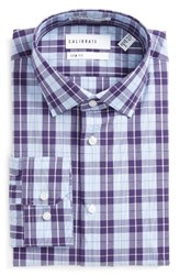 Calibrate Men's Big And Tall Trim Fit Non Iron Plaid Stretch Dress Shirt Purple Mulberry