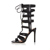 River Island Womens Black Strappy Tie Up Heels