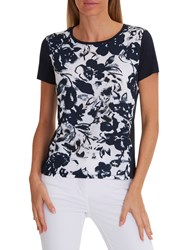 Betty Barclay Floral Print T Shirt Dark Blue Cream
