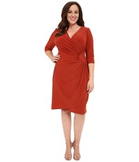 Kiyonna Ciara Cinch Dress Terra Cotta Women's Dress Orange