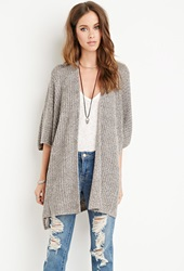 Forever 21 Draped Open Front Cardigan Grey Cream