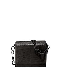 Nancy Gonzalez Gio Crocodile Chain Crossbody Bag Black Shiny